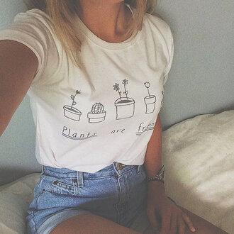 shorts cute tee denim shorts plants white t-shirt t-shirt