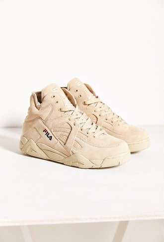 shoes fila beige nude sneakers high top sneakers suede sneakers urban dope fila sneakers sand suede