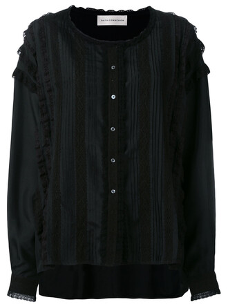 shirt women lace cotton black silk top