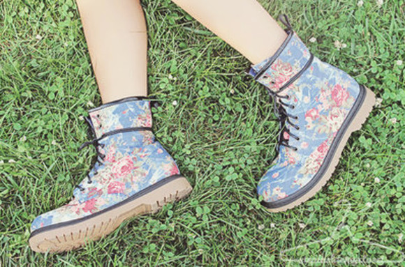 floral boots combat boots roses