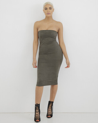 dress strapless olive green dress midi dress