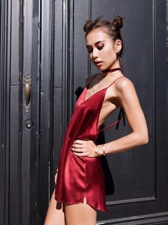 dress satin dress slip dress red dress mini dress summer dress red slip dress