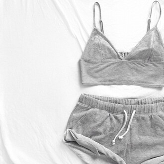 shorts crop tops cute tank top top outfit bra grey gray bralette two-piece night wear minimalist athletic girl drawstring drawstring shorts