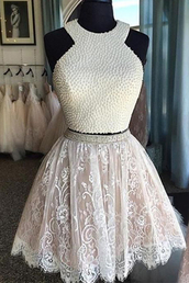 dress,a lines homecoming dresses,white homecoming dresses,with lace sleeveless