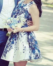dress,amazing dress,blue and white,special occasion dress
