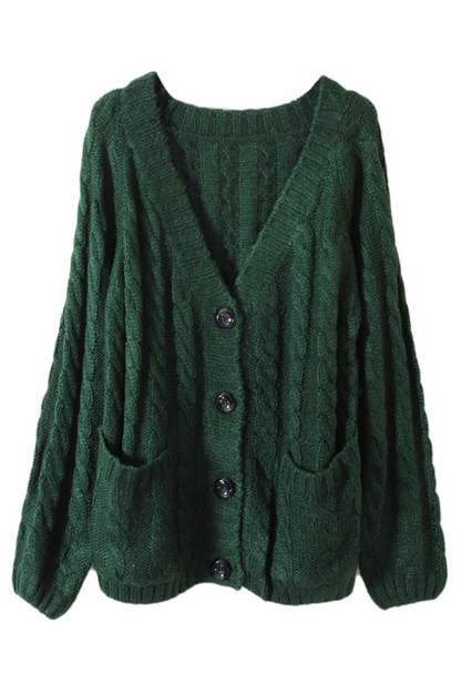 Chunky cable knit blackish green cardigan [ncswu0262]