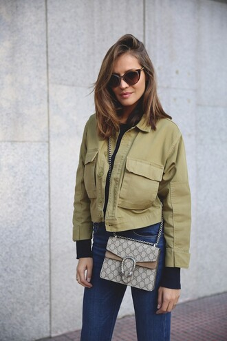 lady addict blogger bag sunglasses green jacket bomber jacket gucci dionysus high waisted jeans