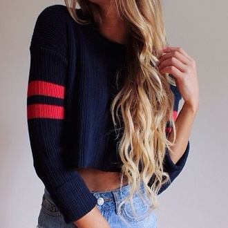 cardigan cropped sweater top navy blonde hair shorts crop tops sweater stripes wow lovely blouse t-shirt
