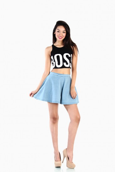 OMG Light Denim Skater Skirt