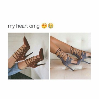 shoes grey strappy heels heels tie up heels high heels grey heels high heel sandals