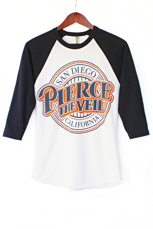 t-shirt justvu.com pierce the veil baseball tee band t-shirt clothes music band merch punk punk rock
