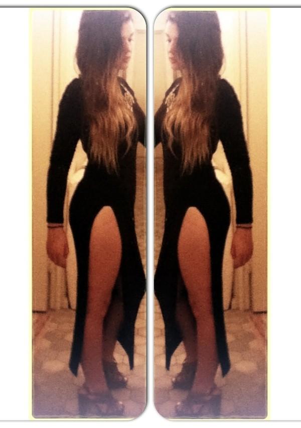 dress slit black dress maxi dress long sleeves high neck shoes