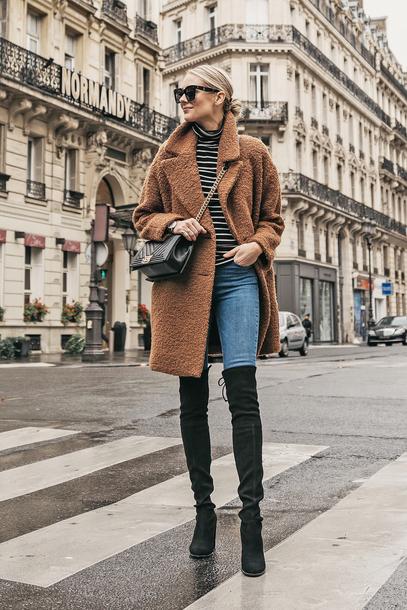 coat tumblr teddy bear coat fuzzy coat denim jeans blue jeans boots black boots over the knee boots over the knee top stripes striped top sunglasses bag