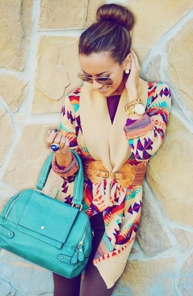 sweater aztec sweater tribal cardigan aztec navajo cardigan clothes blue coat jacket belt shirt aztec teal turquoise cardigan fall cardigan color/pattern stylish bag