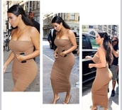 nude,dress,tube dress,tube too,kim kardashian,kim kardashian dress,kim kardashian nude dress