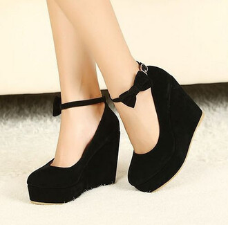 shoes black wedges black wedges suede suede wedges ankle strap wedges bow wedges bow