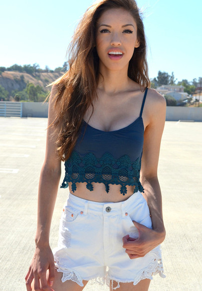 teal tank top lace crop tops shorts