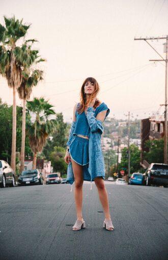 blogger shorts denim jacket denim shorts denim top denim mules summer outfits frayed denim