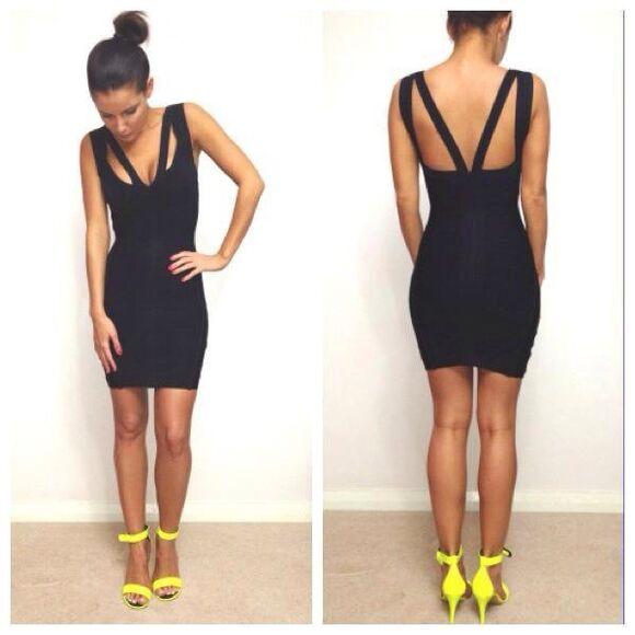 bandage dress yellow black black dresses mini dress mini black dress casual high heels