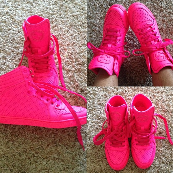 gucci sneakers neon pink. Black Bedroom Furniture Sets. Home Design Ideas