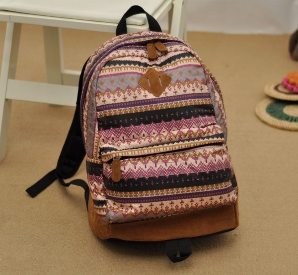 bag herschel supply co. purple snowflake rucksack backbag aztec leather cute girly musthave