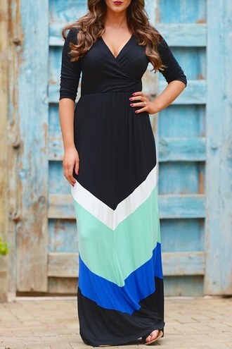 dress plus sized curvy v neck colorblock mint blue black white long sleeves curvy dress curvy ladies black dress