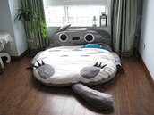 totoro,bedding,sleeping,animal,grey,bag,ebay,shirt,lit,bedroom,cute,white,cats,socks,home accessory,lovely,sleep,must haves,bean bag,tumblr bedroom,pinterest,weheartit,instagram,home decor,cool