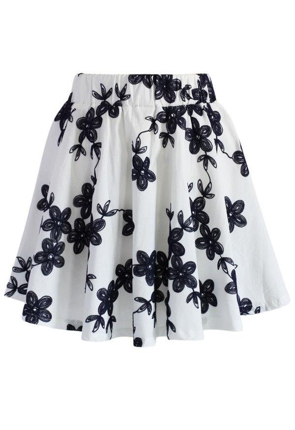 skirt chicwish flower embroidered skater skirt