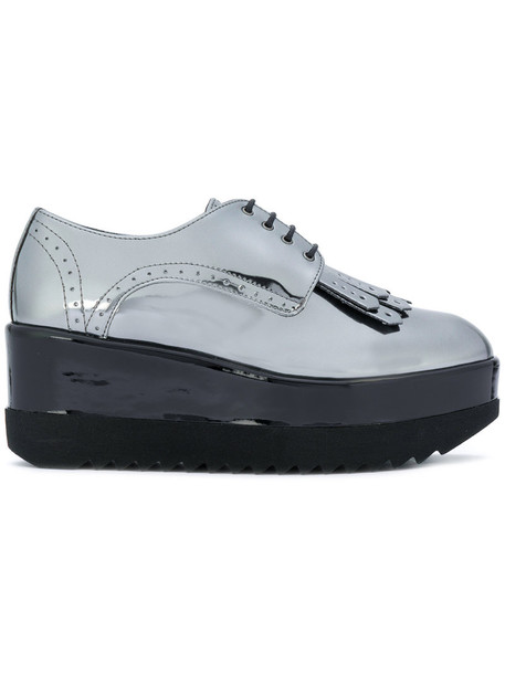 Pollini high women shoes lace leather grey metallic