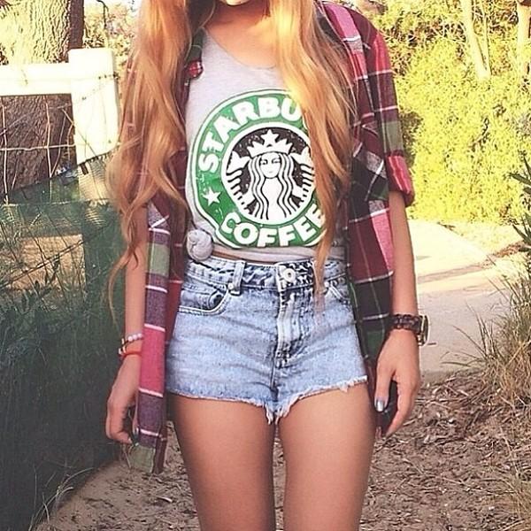 tank top starbucks coffee plaid shirt hipster indie casual denim shorts logo top grey tank top tumblr girl shirt jewels starbucks coffee