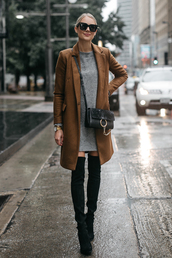 fashionjackson,blogger,coat,dress,shoes,bag,sunglasses,jewels,fall outfits,brown coat,crossbody bag,grey dress,boots,over the knee boots
