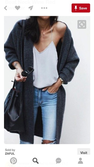 sweater charcoal charcoal sweaters cardigan ripped jeans jeans blue stonewashed jeans top top blogger lifestyle