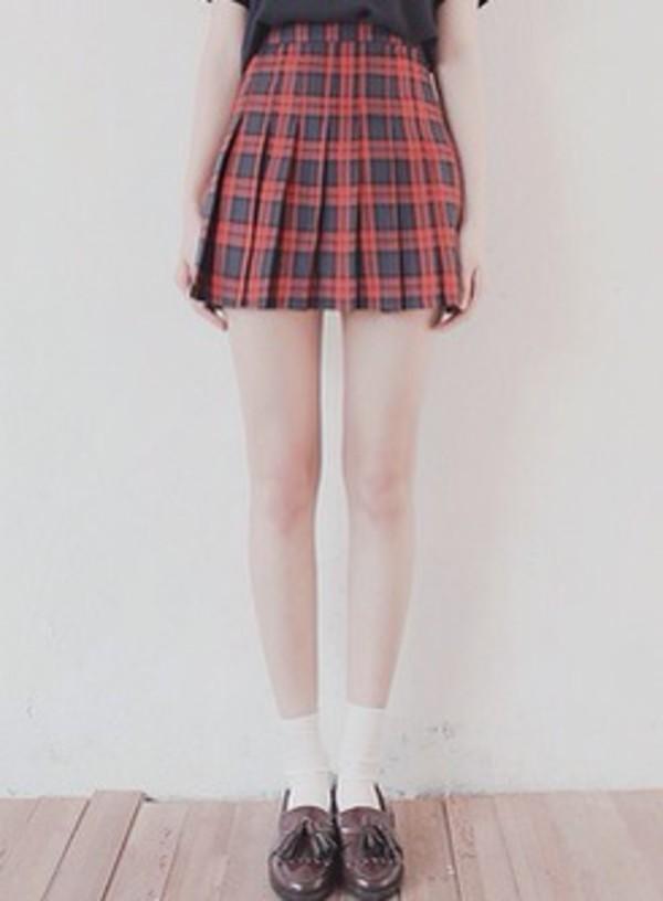 skirt plad cute pale grunge pale soft grunge black preppy