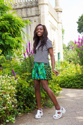 i want you to know,top,skirt,jewels,shoes,bag,tropical,summer outfits,stripes,sandals,white sandal heels,high heels,beach,dope,white shoes,white,green,watch,h&m,versace,necklace,jeffrey campbell