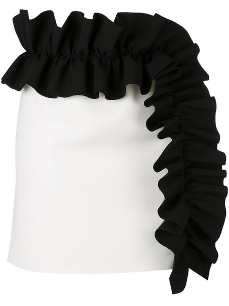 MSGM - ruffle mini skirt - women - Polyester/Spandex/Elastane - 44, White, Polyester/Spandex/Elastane