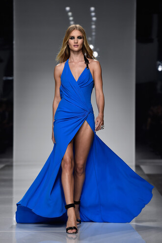 dress blue blue dress sandals slit dress rosie huntington-whiteley gown runway haute couture fashion week prom dress long prom dress long dress fashion week 2016