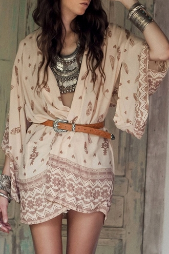 cardigan gypsy kimono boho fashion style beach summer pattern cute beige dress festival trendy nude spring beautifulhalo