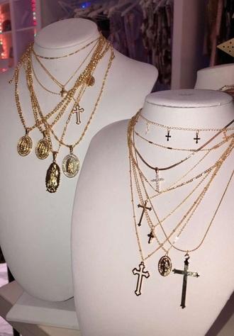 jewels gold pendant choker necklace necklace cross
