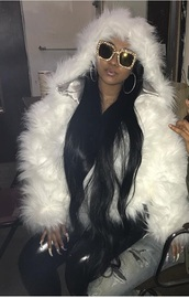 jacket,a white fur jacket,glasses,sunglasses,round hoop earrings,cute,liquid leggings,long hair,fur coat