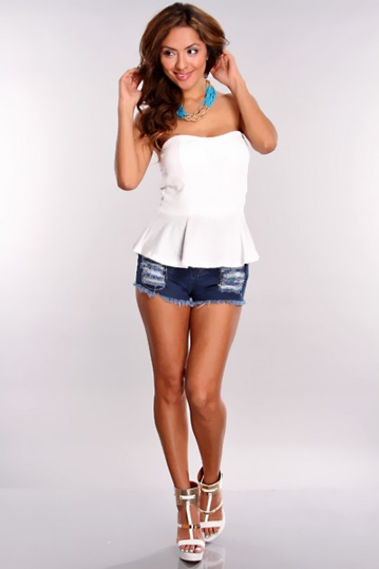 White Sequin Peplum Top / Sexy Clubwear | Party Dresses | Sexy Shoes | Womens Shoes and Clothing | AMI CLubwear