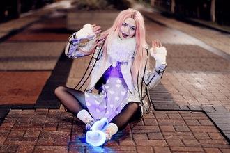 kayla hadlington blogger scarf socks gloves dress kawaii purple skirt plastic pastel hair shoes jacket