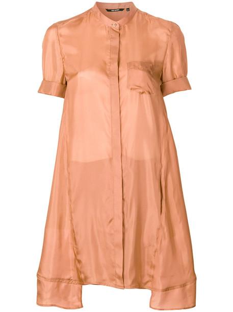 Neil Barrett - wrap back shirt - women - Silk - L, Brown, Silk