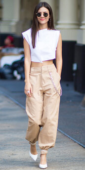 pants,top,crop tops,pumps,victoria justice,streetstyle,nyfw 2017,ny fashion week 2017