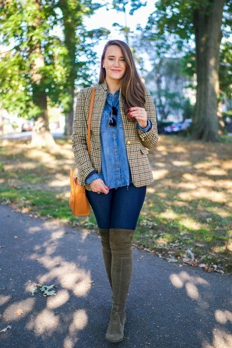 covering bases curvy blogger jacket shirt shoes orange bag blazer knee high boots boots fall outfits