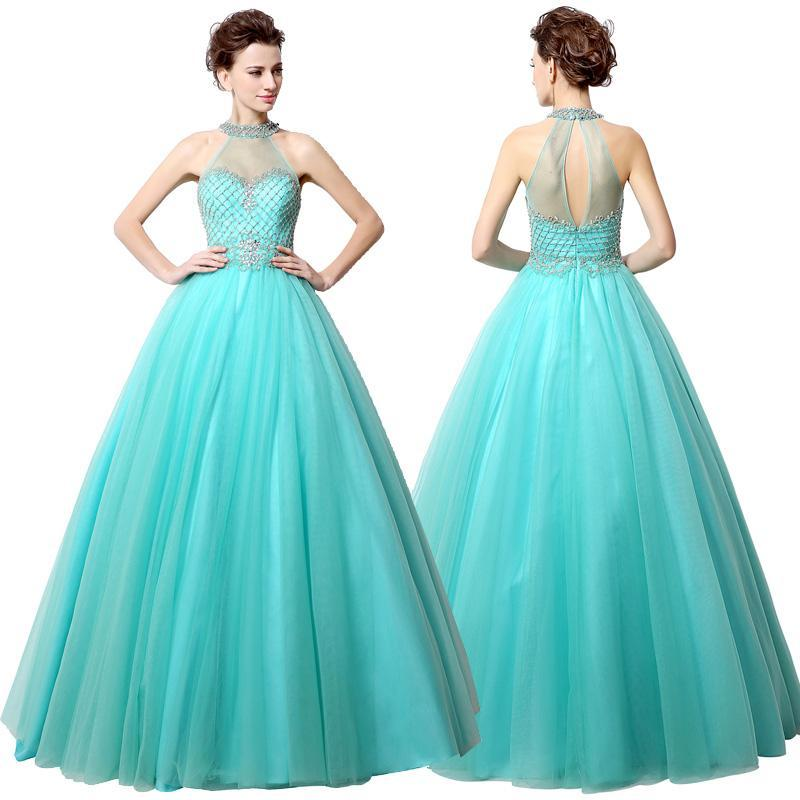 Formal Evening Gowns Halter Neck Zipper Back Sexy Ball Gown Pageant Gowns Crystals Beadings 2016 Custom Made Halter Blue Long Prom Dress Cheap Prom Dress Stores Cheap Purple Prom Dresses From Lovemydress, $89.2| Dhgate.Com