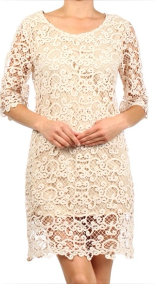 dress taupe crochet