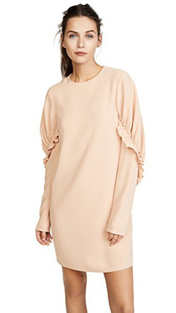 Tibi dress ruffle dress short ruffle blush