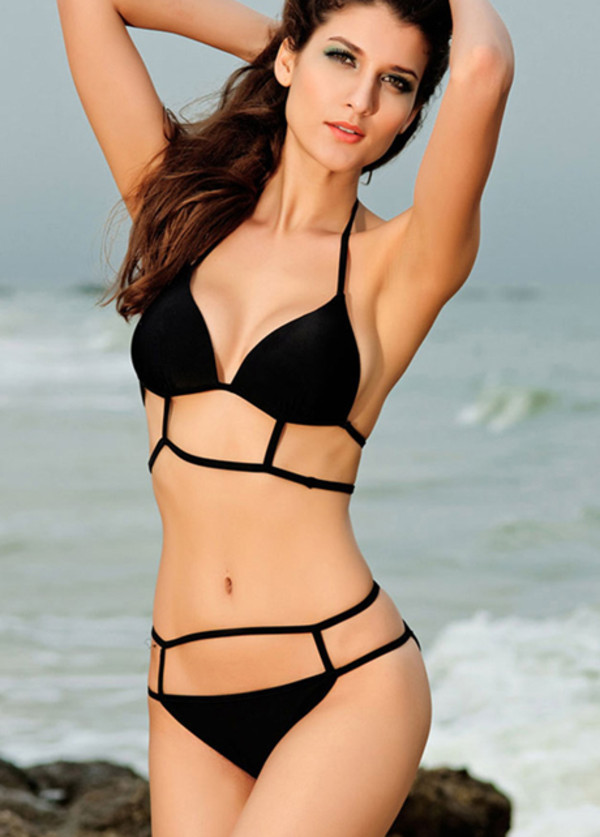 swimwear sexy wholesale sexy swimwear sexy bikini sexy dress bikini black bikini two-piece clothes fashion bikini bottoms bikini top swimwear beachwear strappy bikini beautiful halo cut offs strappy black summer