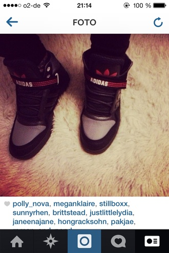 shoes adidas high top sneaker black. grey red