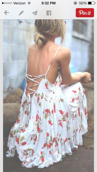 white dress redish flowers